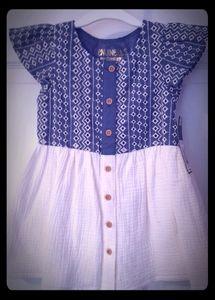 NWT Genuine Kids OshKosh 2T blue and cream dress
